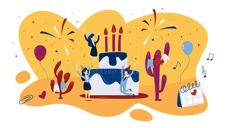 Os povos comemoram o aniversário em um bolo gigante ilustração royalty free