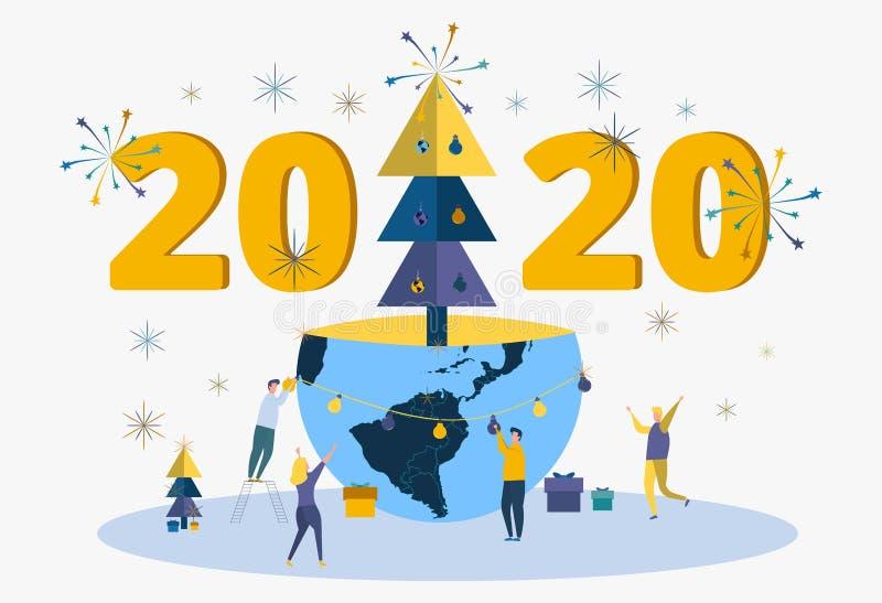 Os povos comemoram o ano novo 2020 Metáfora de celebrações carporative Os trabalhadores de escritório comemoram o feriado ilustração do vetor
