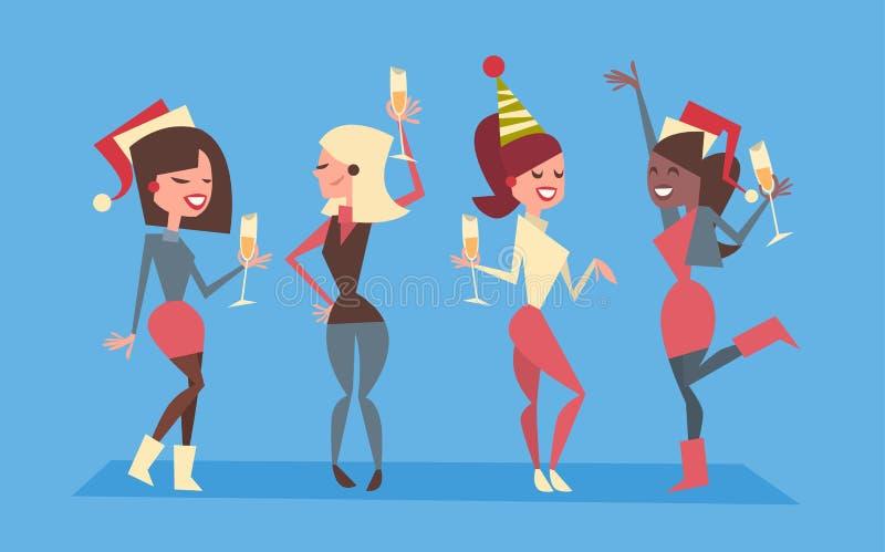 Os povos comemoram o conceito de Santa Hats Holiday Eve Party do desgaste do grupo do Feliz Natal e das mulheres do ano novo feli ilustração stock