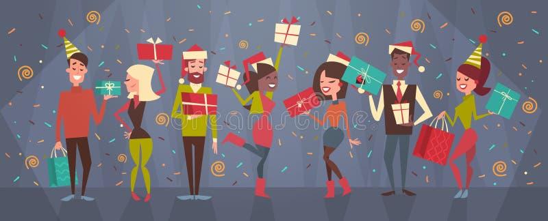 Os povos comemoram o Feliz Natal e os homens do ano novo feliz e o conceito de Santa Hats Holiday Eve Party do roupa de senhora ilustração royalty free