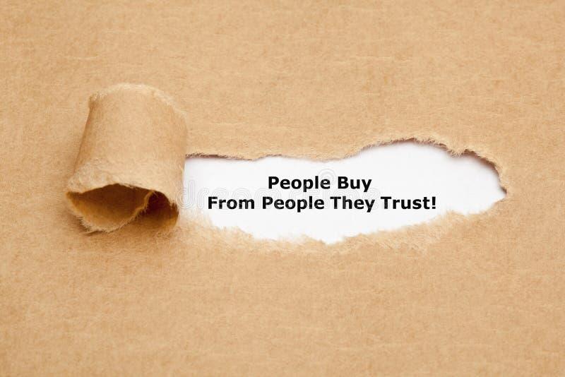 Os povos compram dos povos que confiam imagens de stock