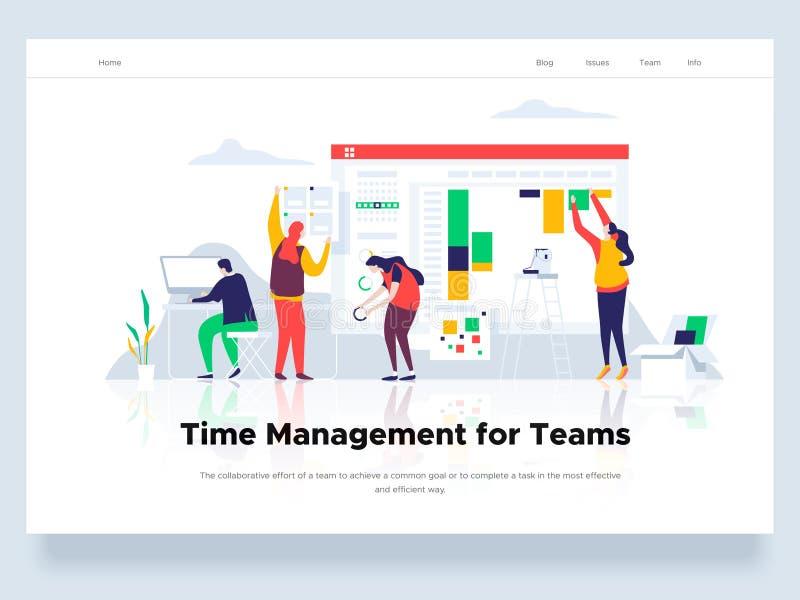 Os povos constroem um painel e interagem com os gráficos Situações da gestão e do escritório de tempo Molde da página da aterrage ilustração royalty free