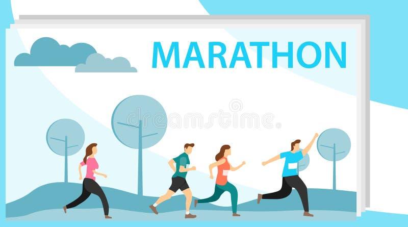 Os povos correm uma maratona Um grupo de pessoas que corre uma maratona Ilustração do vetor de consecutivamente ilustração stock