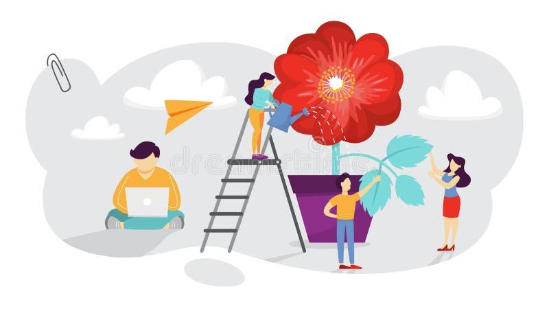 Os povos crescem uma planta da flor no potenciômetro ilustração royalty free