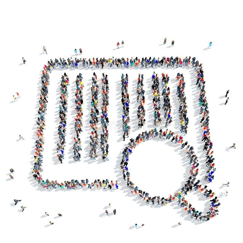 Os povos dão forma a um ícone da compra do código de barras ilustração royalty free