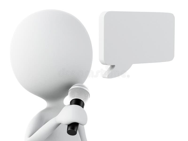 os povos 3d brancos com um discurso vazio borbulham Concep de uma comunicação ilustração do vetor
