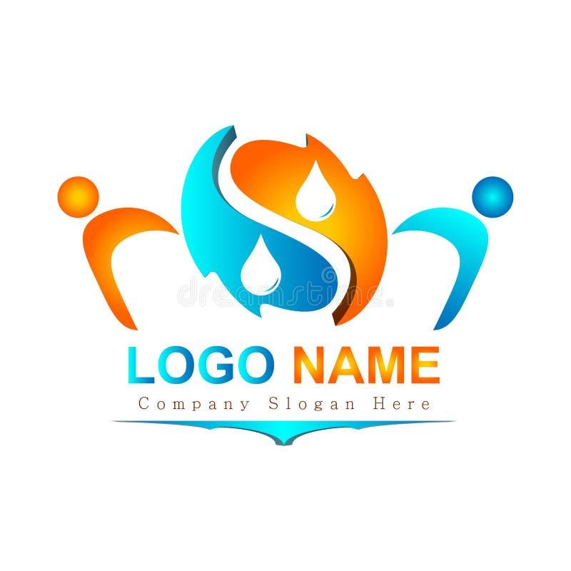 Os povos 3d na moda novos coloridos do sumário molham o logotipo da gota para sua empresa ilustração stock