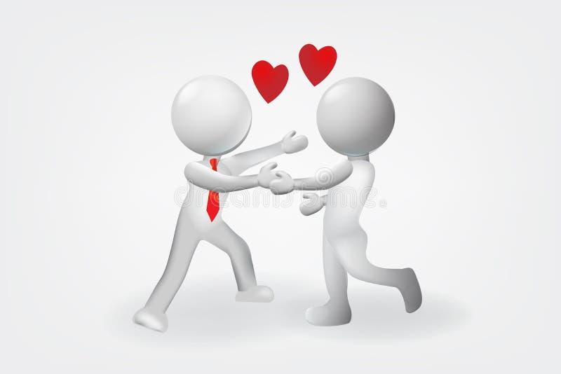 os povos 3D pequenos amam o projeto do vetor do logotipo do relacionamento ilustração stock