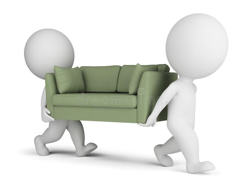 os povos 3d pequenos levam um sofá ilustração stock