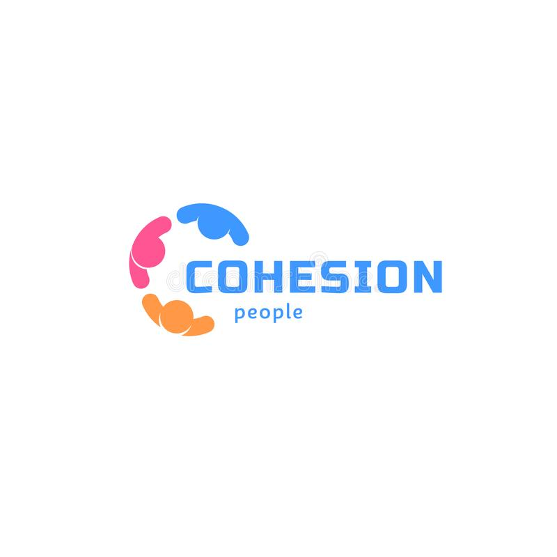 Os povos da coesão, abstraem o logotipo isolado do vetor Identidade colorida do negócio ilustração royalty free