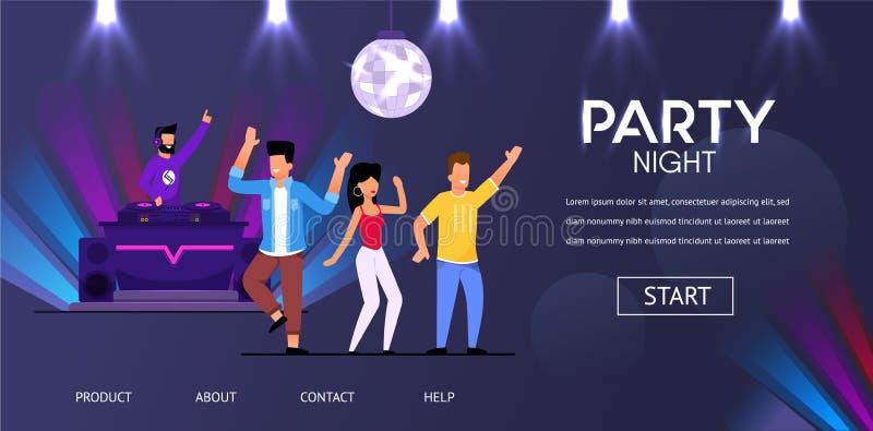 Os povos da música do jogo do partido do clube noturno do DJ aglomeram a dança ilustração stock