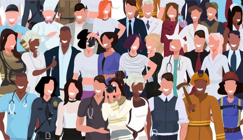Os povos da raça da mistura aglomeram a ocupação diferente que está junto o retrato masculino dos personagens de banda desenhada  ilustração stock