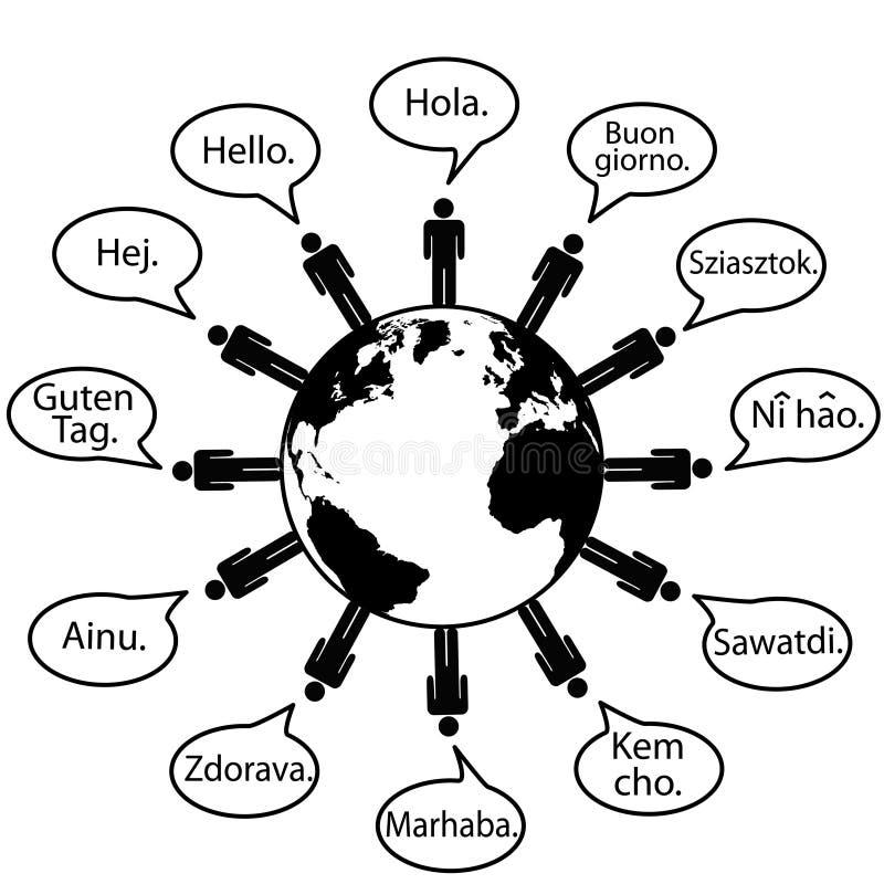Os povos da terra traduzem línguas dizem olá! ilustração royalty free
