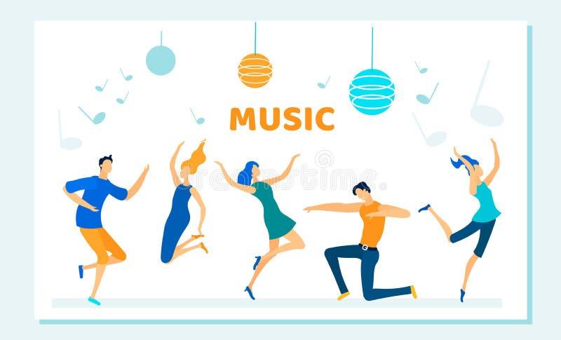 Os povos dançam no partido de disco, ritmo da música, lazer ilustração royalty free