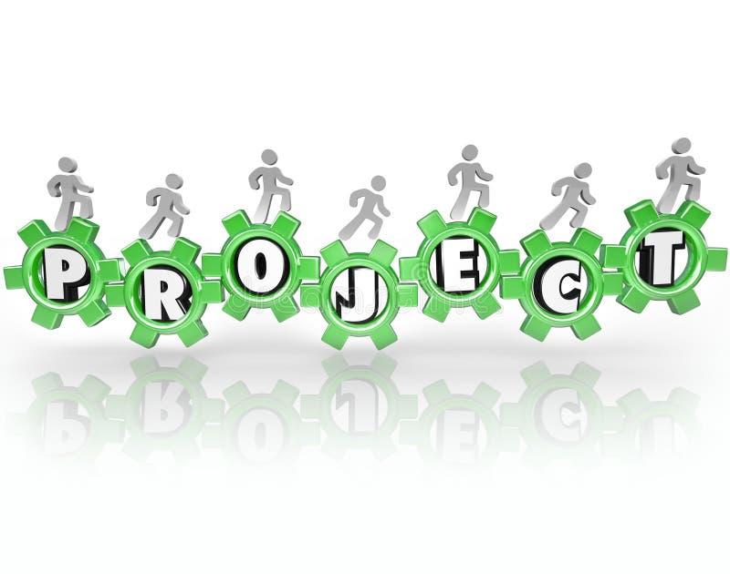 Os povos das engrenagens da palavra do projeto que trabalham junto realizam a tarefa ilustração stock