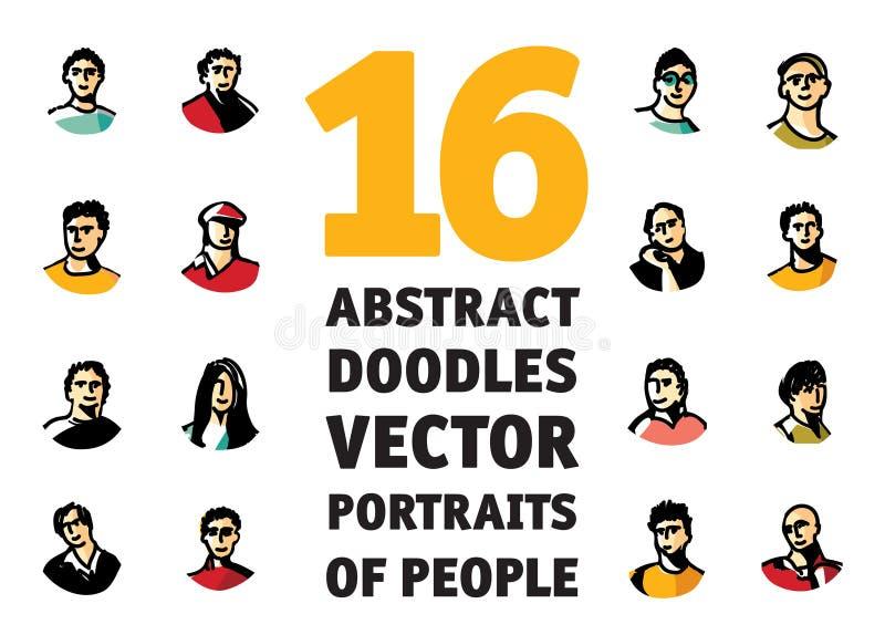 Os povos das garatujas isolaram as caras irreconhecíveis dos avatars dos retratos ilustração do vetor