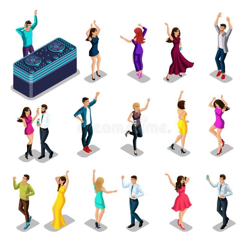 Os povos de Isometrics dançam, felicidade são divertimento, um grupo de homens e mulheres para um partido, um DJ com um controlo  ilustração do vetor