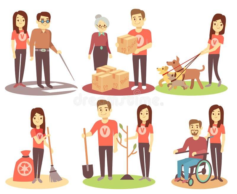 Os povos de oferecimento e de apoio vector ícones lisos com as pessoas do voluntário dos jovens ilustração do vetor