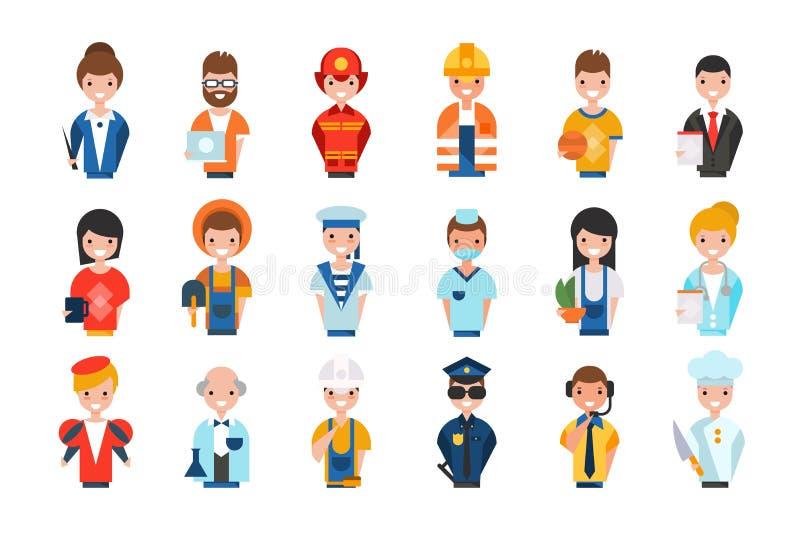 Os povos de profiss?es diferentes ajustaram-se, trabalhadores dos avatars, professor, administrador de sistema, bombeiro, fazende ilustração stock