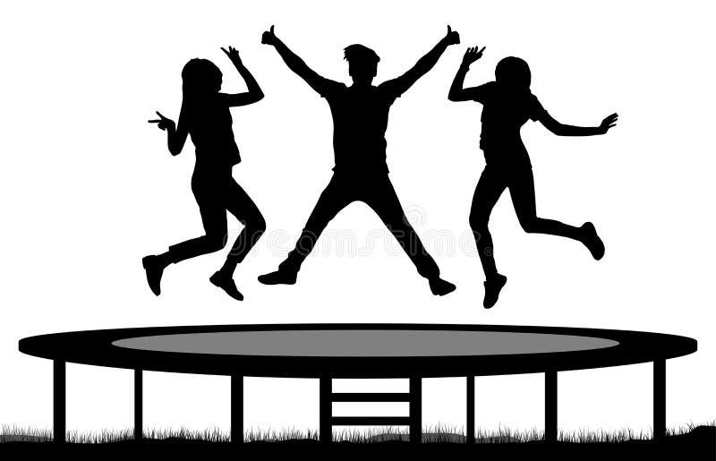 Os povos de salto em um trampolim mostram em silhueta, saltam amigos ilustração stock