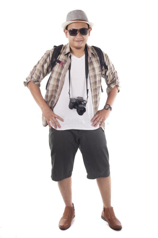 Os povos de viagem isolaram-se no branco Turista masculino do mochileiro, SMI imagem de stock