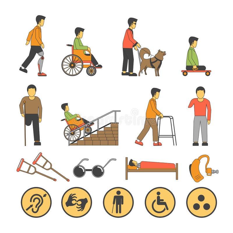 Os povos deficientes da inabilidade com oportunidades físicas limitadas vector ícones ilustração stock