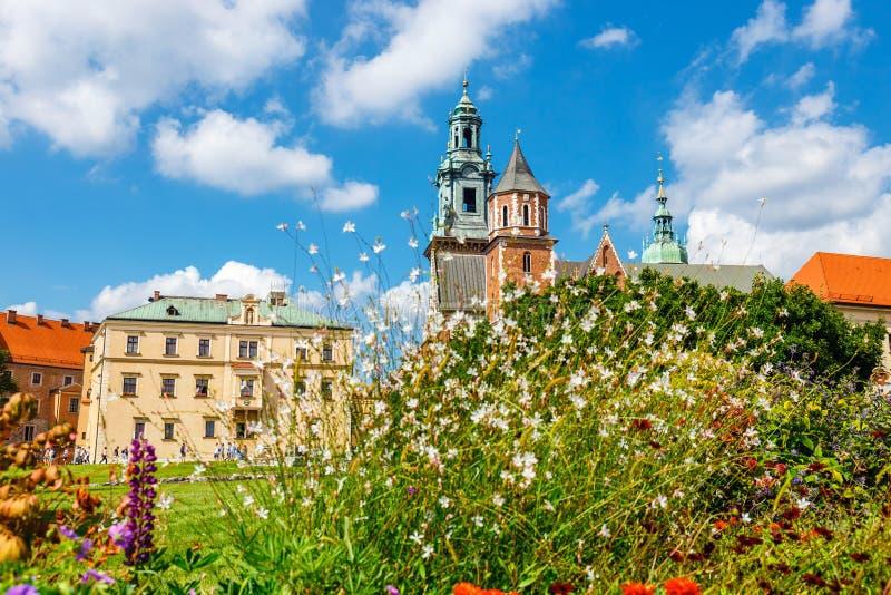Os povos desconhecidos visitam a catedral de Wawel e o castelo de Wawel no monte de Wawel em Krakow, Polônia fotografia de stock royalty free