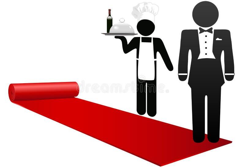 Os povos desenrolam a hospitalidade da boa vinda do tapete vermelho ilustração do vetor