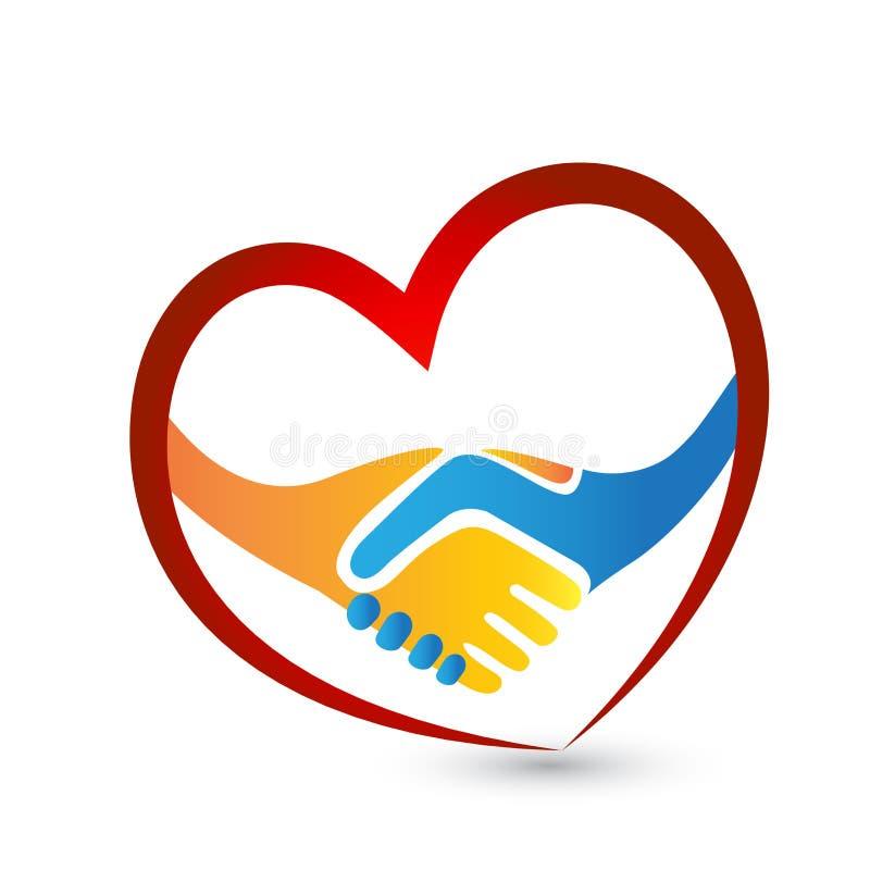Os povos do aperto de mão amam o ícone do vetor do logotipo do conceito da união do coração ilustração royalty free