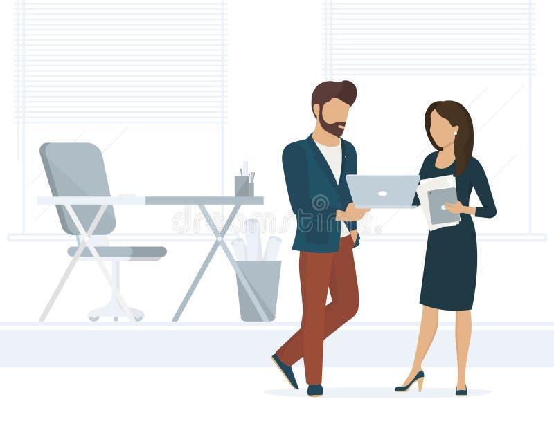 Os povos do escritório discutem um projeto ilustração royalty free
