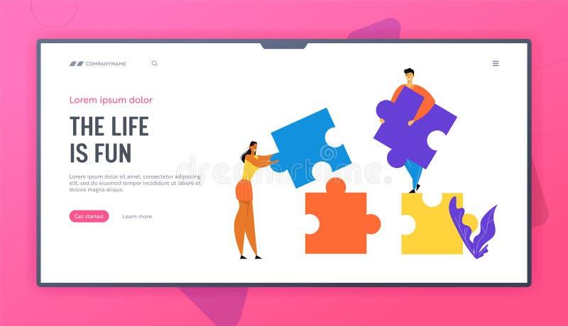 Os povos do escritório trabalham junto estabelecendo partes separadas coloridas do enigma Trabalhos de equipe, cooperação, trabal ilustração do vetor