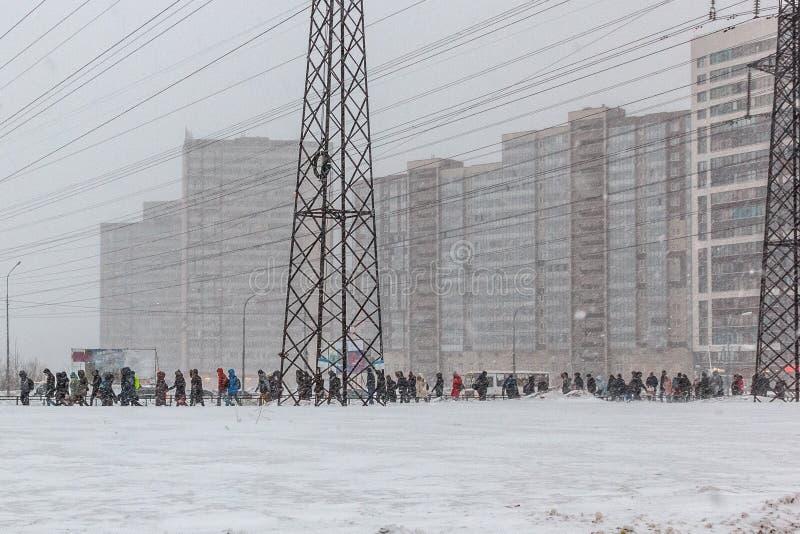Os povos do mau tempo dos povos das horas de ponta v?o trabalhar a realidade pesada do blizzard da neve da neve da vida imagens de stock royalty free