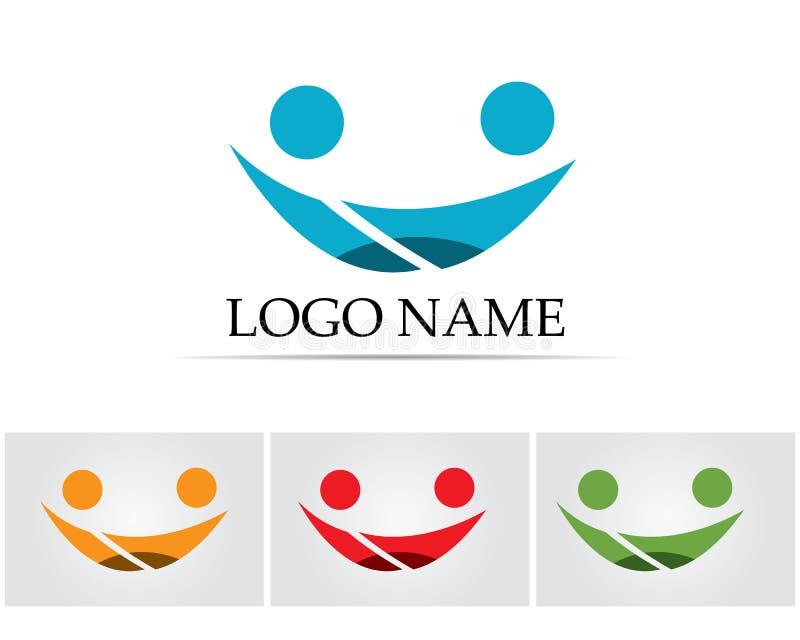 Os povos do sucesso da saúde da família do sorriso importam-se o molde do logotipo e dos símbolos ilustração stock