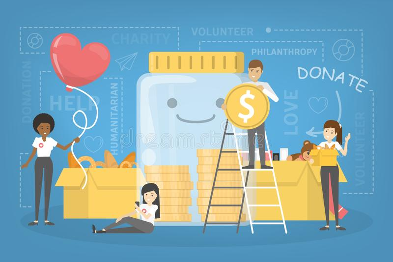 Os povos doam o dinheiro para ajudar povos pobres ilustração royalty free