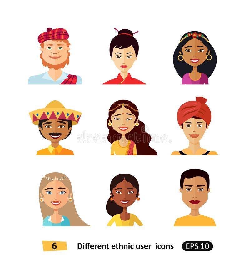 Os povos dos Avatars de várias nacionalidades em trajes tradicionais isolaram ilustrações do vetor ilustração royalty free