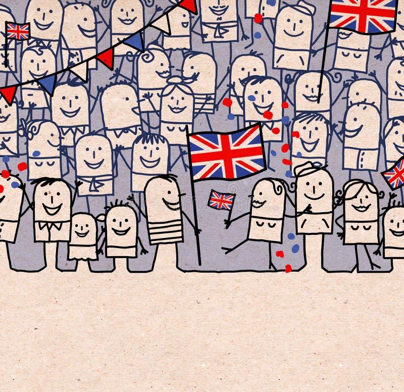 Os povos dos desenhos animados aglomeram-se e dia inglês nacional feliz ilustração royalty free