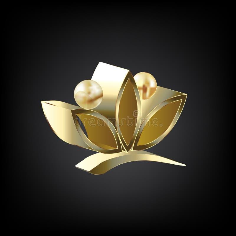 Os povos dos lótus do ouro 3D do logotipo florescem o símbolo do projeto gráfico da ilustração da imagem do vetor da ioga ilustração stock