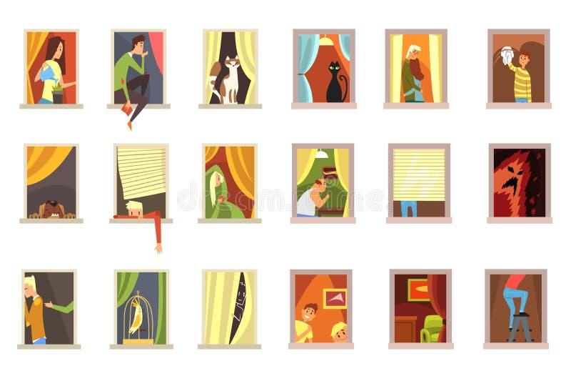 Os povos dos vizinhos nas janelas ajustaram-se, situações diferentes em ilustrações do vetor dos desenhos animados das janelas da ilustração do vetor