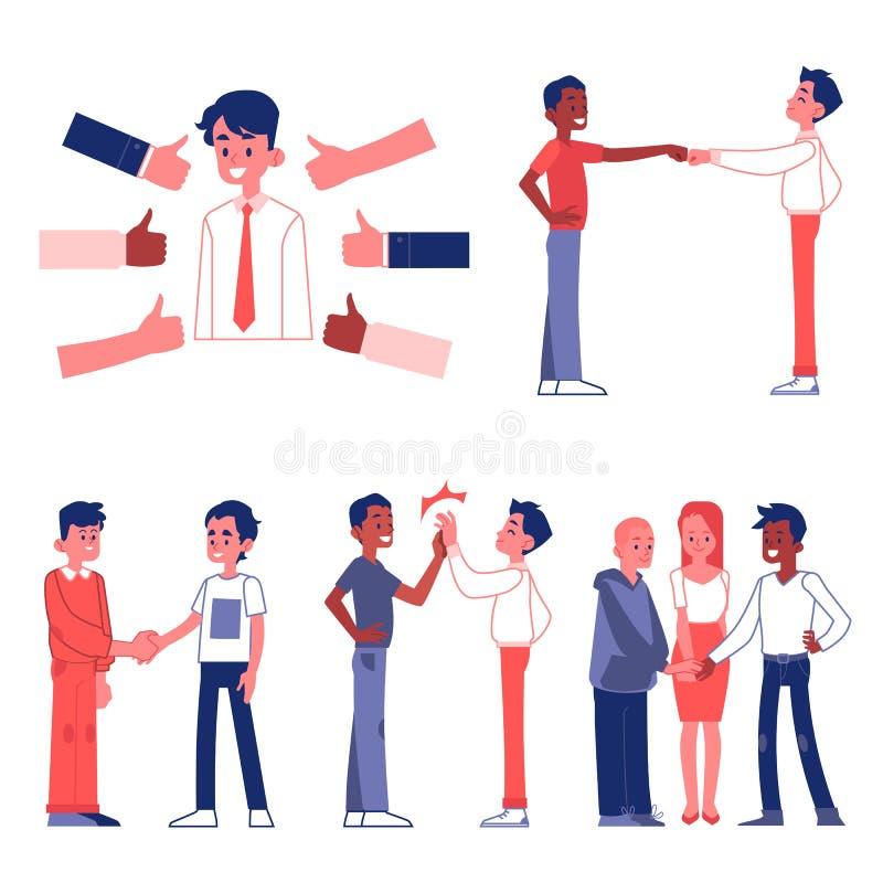 Os povos em ilustrações lisas do vetor dos gestos formais e amigáveis ajustaram-se isolado ilustração stock