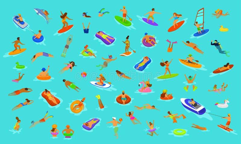 Os povos equipam e mulher, meninas e meninos nadando no colchão dos flutuadores, mergulhando no mar, na água, na associação ou no ilustração royalty free