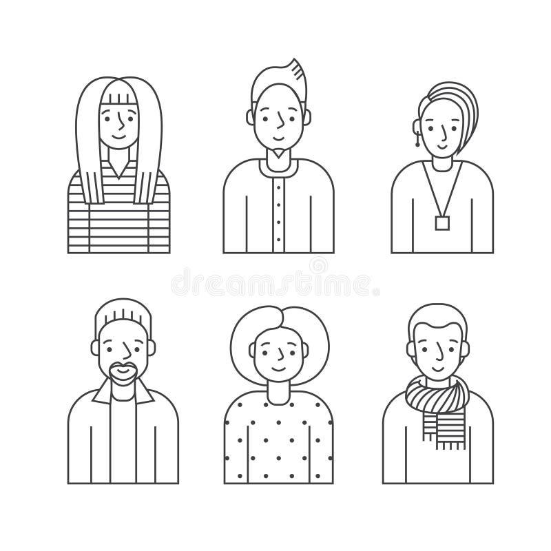 Os povos esboçam o vetor cinzento dos ícones ajustado (homens e as mulheres) Projeto de Minimalistic Parte cinco ilustração do vetor