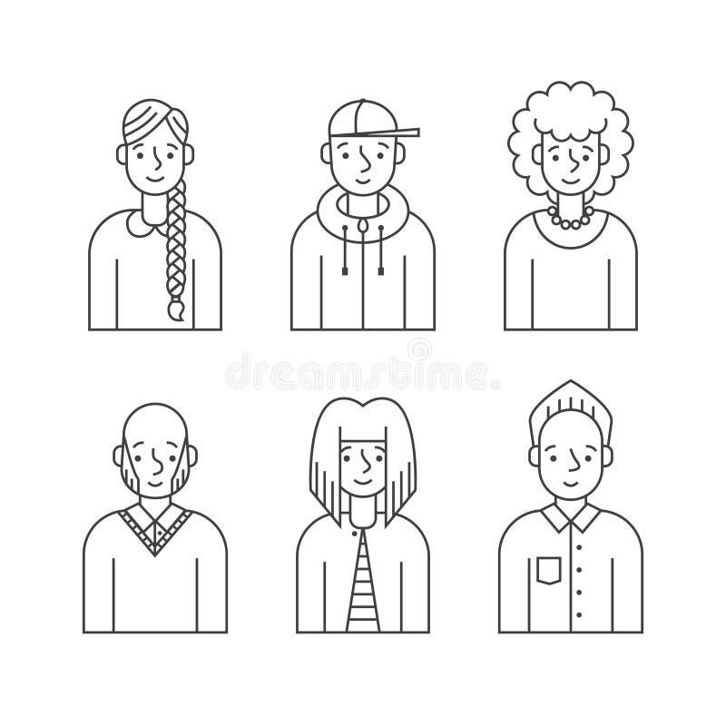 Os povos esboçam o vetor cinzento dos ícones ajustado (homens e as mulheres) Projeto de Minimalistic Parte dois ilustração stock