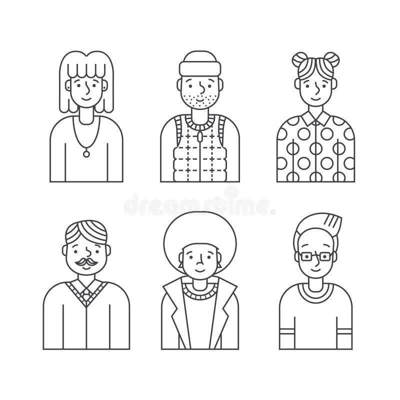 Os povos esboçam o vetor cinzento dos ícones ajustado (homens e as mulheres) Projeto de Minimalistic Parte quatro ilustração royalty free