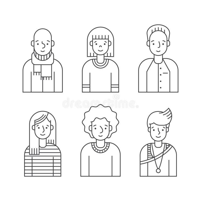 Os povos esboçam o vetor cinzento dos ícones ajustado (homens e as mulheres) Projeto de Minimalistic Parte três ilustração royalty free