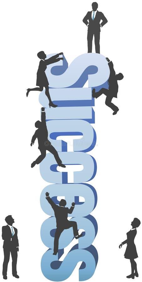Os povos escalam acima a palavra da ambição do SUCESSO de negócio ilustração do vetor