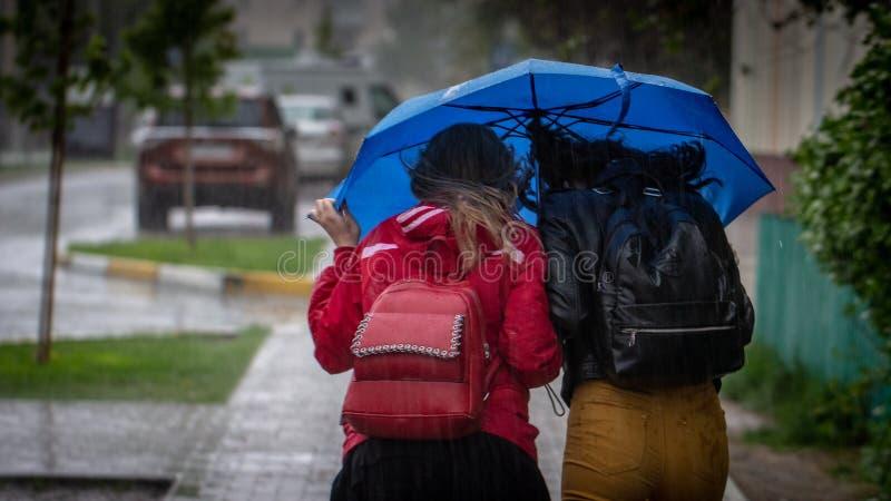 Os povos escondem da chuva sob guarda-chuvas em um dia chuvoso na rua do conceito do mau tempo da cidade fotografia de stock