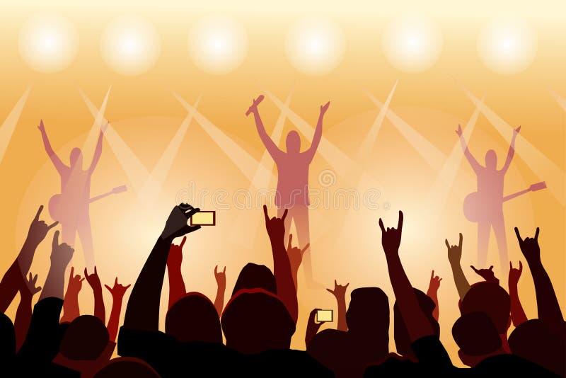 Os povos estão guardando as mãos na frente da fase do concerto Há uma silhueta de um fundo do músico ilustração do vetor