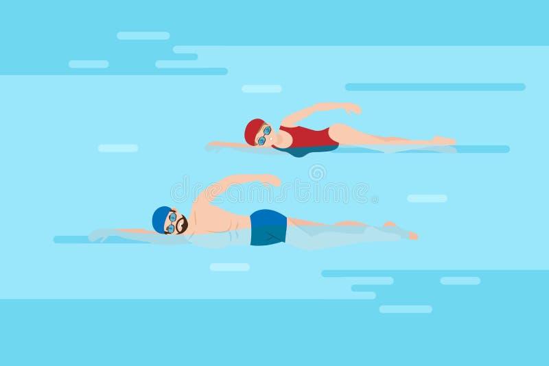 Os povos estão nadando ilustração stock