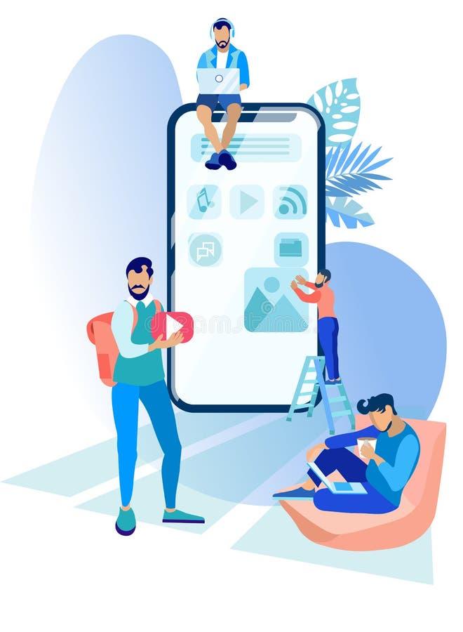 Os povos estão trabalhando em criar a aplicação móvel ilustração royalty free