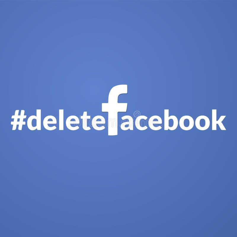 Os povos estão usando o hashteg do deletefacebook para boicotar a rede social popular ilustração royalty free